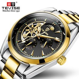 tevise brand watches Promo Codes - TEVISE Men Moon phase Mechanical Wrist Watch Top Brand Luxury Men Stainless Steel Skeleton Automatic Watch Reloj Hombre