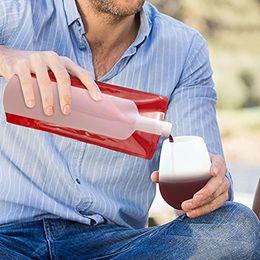 Sacchetti di bottiglia di vino in plastica online-Flacone pieghevole pieghevole flessibile riutilizzabile portatile a prova di liquido Borsa da vino in plastica Boccetta per barbecue Viaggi Campeggio 12,5 * 27,5 cm