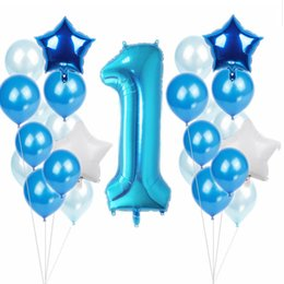 numeri di palloncini rosa Sconti Baby First 1 ° Birthday Party Balloon Number 1 Boy Girl Foil Balloon Baby Shower Party Pink Blue Decorative Ballonn