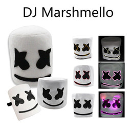 music mask Coupons - Marshmello Mask Face Hat Marshmello DJ Concert Props Earphone Halloween Christmas Music Pillow Adult kids Gift Headgear DH1164-1 T03