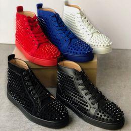 2019 zapatillas altas planas Zapatillas de deporte de diseño 2019 junior Suede Studded Spikes Shoes zapatillas planas Zapatos inferiores rojos zapatos de hombre con punta de plata con top alto