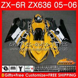 Corpo Para KAWASAKI NINJA ZX-636 amarelo branco ZX600 ZX 6R 600 ZX6R 05 06 35HC.62 ZX636 05 06 ZX 636 600CC ZX 6 R ZX-6R 2005 2006 Kit de Carenagem de
