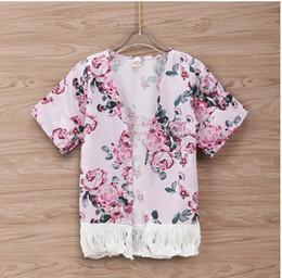 577b256ba2b47a Baby Floral Print Tassel Thin Layer Coat Girl Summer Short Sleeve Cardigan  Kids Clothes ZHT 178