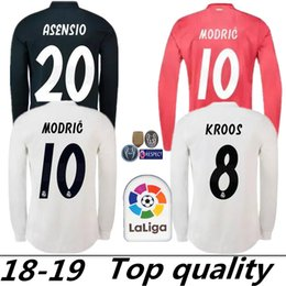 ca3caa25e New 18 19   10 MODRIC Real Madrid Langarm-Fußball-Jersey 2019 Champions  League Marcelo   20 ASENSIO ISCO Auswärts Coral Rot Fußball-Uniform