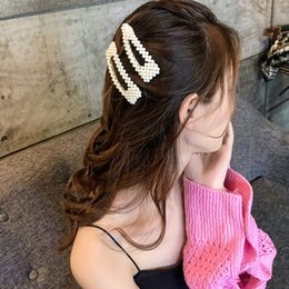 plating hair styles Coupons - New Fashion Women Pearl Hair Clip Barrette Beautiful Hairpins Korean Design Hair Styling Tools Accessories Crystal Elegant Hair Clip