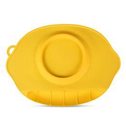 Placas de silicona para niños Placemat grueso redondo sólido Oval Creativo antideslizante amarillo, rosa, verde, azul Mantel individual desde fabricantes