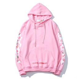 Flor de cerezo rosa online-Diseñador Top Flor de cerezo Suéter Flor de durazno rosa Hombres y mujeres Pareja Cuello redondo Sudadera con capucha delgada Marea