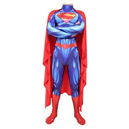 superman cosplay Sconti Justice League Superman cosplay stretta siamesi Halloween Cos Costume Divertimento maniche lunghe Set Uomini con Mantello