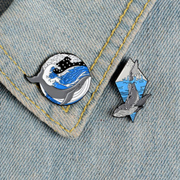 рюкзак ките   Скидка Deep sea whale pin Blue Wave Lonely grey whale enamel pins brooches for women Lapel pin badge Clothes backpack bag Animal jewelry gifts