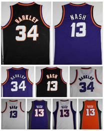 Argentina Buena calidad # 34 Charles Barkley Jersey barato # 13 Steve Nash Jerseys Vintage púrpura negro camisas blancas hombre cosido tamaño S-XXL cheap good cheap quality jerseys Suministro