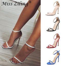 Stilettos bianchi per il matrimonio online-High Heel Sandali donna tacco a spillo scarpe con fibbia Bianco Rosso Nero cinghia femminile festa di nozze dei sandali sandali di lusso Designer