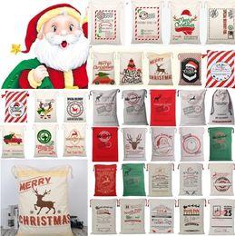 lampade di riso Sconti Nuovi sacchetti di Natale Tela di canapa di Halloween Sacchi di Babbo Natale Sacchetti di Babbo Natale Simpatico cervo Ornamento Decorazioni di Natale Borsa di tela con coulisse