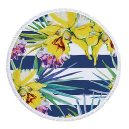 Canada Personnaliser Plante de Plage Ronde Mandala Polyester Plantes Imprimé Fleur Pompon Été Mince Serviette de Bain Robe Bikini Couverture Nappe Cover-up Offre