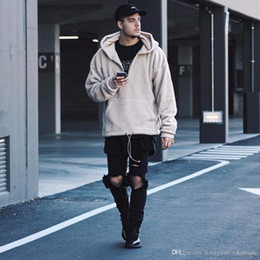 Dio peluche online-Fear Of God Fog Open Stitch Plush Cardigan Jacket Coat Hiphop Hooded Hoodies Giacche Cappotto in pile M-xl Dongguan_wholesale