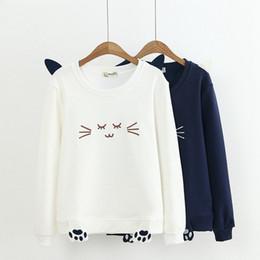 Koreanische sweatshirts niedlich online-Katze niedlich Hoodies Sweatshirts 2020 Frauen Casual Kawaii Mode Mode Punk für Mädchen Kleidung Europäischen Tops Koreanisch
