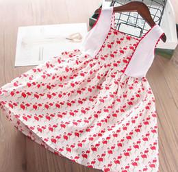 2019 robes d'été rouge pour les filles Robes d'été filles 2019 nouveaux enfants flamants rouges gilet imprimé robe enfants princesse robe enfants vêtements de dessin animé F3321 promotion robes d'été rouge pour les filles