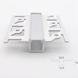 fita 9mm Desconto O perfil do canal de T encaixou o perfil de alumínio conduzido, canal linear invisível da borda lisa da fita da tira do PWB de 9mm para a parede