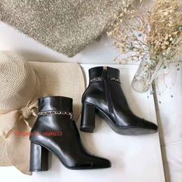 soft leather designer ladies boots Desconto Elegantes da cor sólida do dedo do pé Pointed macias Ladies couro fino High Heel Designer Luxo Botas Mulher Moda 09,174 Shoe