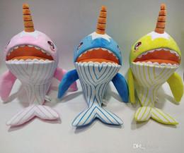 Sonido de peluche online-Baby Shark Unicorn Narwhal Stuffed Dolls Squeeze de dibujos animados juguetes de peluche Singing Sound Soft Doll para niños regalo de Navidad Party Party