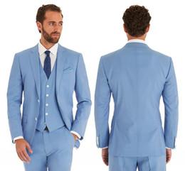 Canada Bleu ciel costumes de mariage Slim Fit smokings mariée pour les hommes 3 pièces garçons d'honneur costume formelle veste d'affaires sur mesure (veste + pantalon + veste) cheap sky blue tuxedo suit Offre