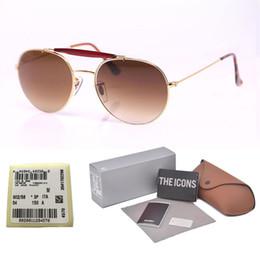 Doppia etichetta online-Nuovi occhiali da sole di arrivo per le donne Uomini Progettista di marca Double Bridge Metal Frame uv400 Specchio di vetro con lente a specchio con astuccio ed etichetta