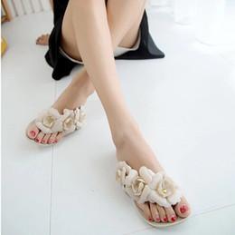 Hermosas sandalias online-2017 nuevas sandalias de las mujeres calientes del verano con la flor hermosa de la camelia chancletas dulces XWZ455