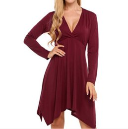 0177a1ce88 Hot style v-neck irregular long-sleeved solid color dress for European and  American women in autumn is a hot seller in 2018