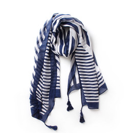 2019 перья шарф белый Синие полосатые хлопковые тонкие шарфы с кисточками. Женская мода. Геометрический длинный вискозный платок.