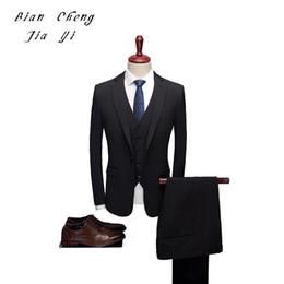esmoquin negro solo botón Rebajas Negro de alta calidad para hombre trajes de boda de un botón trajes formales 3 piezas novio de la boda esmoquin de baile de fin de curso Slim Fit de un solo pecho