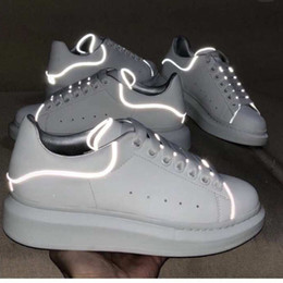 shine sneakers Coupons - Top Designer Shoes GREY Shine Platform Shoes Mens Trainers White Leather Flat Casual Party Wedding Shoes Suede Sports Sneakers US 11
