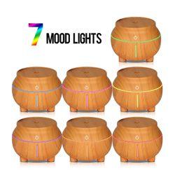 luz noturna de madeira Desconto Umidificador de grãos de madeira USB 7 cores LED Night Light Touch Aroma sensível ao óleo essencial Difusor Purificador de ar Fabricante de névoa para o escritório GGA2597