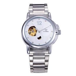 Relógios do ouyawei on-line-2019 Nova OUYAWEI Homens Automatic Relógios Branco Esqueleto de relógio mecânico Moda Casual Assista Aço Inoxidável Relogio