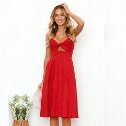9970a0d90f50f6 2019 atmosphäre kleider Frauen S Kleidung Partykleider Sexy Fashion Designer  Dress mit Knöpfen Rücken und High