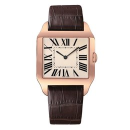 blue female watches Coupons - 2019 Rose Gold New men watch Gentalmen luxury watches women fashion wristwatch leather brown square dial Female Relogio Montre male clock