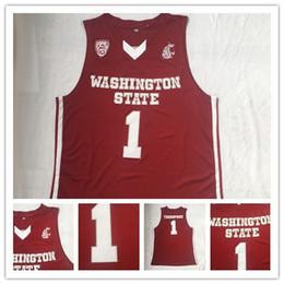2019 billige rote hemden NCAA Herren Basketball Washington State Cougars Klay genäht Thompson College Basketball Trikots günstige rote # 1 Thompson genäht Klay Shirts günstig billige rote hemden