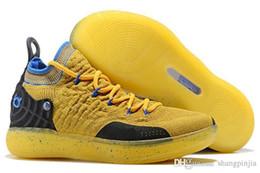 Высокое качество kd 11 Повседневная обувь Gold Splatter Kevin Durant 11s многоцветная / металлическая Золотая Мужская обувь размер 7-12 от