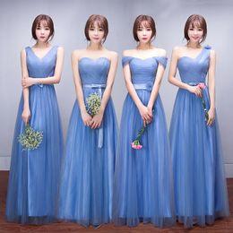 2019 vestidos de casamento emagrecedor Azul Cinza Dama de Honra Vestidos Barato Simples Fora Do Ombro Magro Chiffon País Dama de Honra Vestidos Baratos Convidado Do Casamento Vestido desconto vestidos de casamento emagrecedor