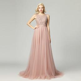 Vestidos de noite on-line-2019 Robe De Soiree Gatsby Vintage Luxo cristal blush rosa A linha de vestidos de noite yousef aljasmi puro pescoço com capa vestido árabe 5465