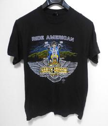 Американская атлетика онлайн-Урожай HARLEY DAVIDSON RIDE AMERICAN T-Shirt-мужская размер M-1985 мотоцикл одежда Марка тройники мужчины горячие дешевые с коротким рукавом мужской