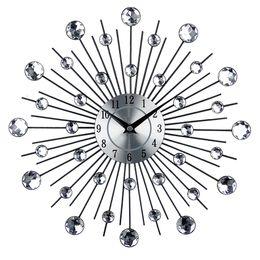 Artes do relógio on-line-Relógio de Parede de Arte de metal Do Vintage de Luxo Diamante Grande Relógio de Parede Orologio Da Parete Relógio Morden Design Home Decor Wandklok