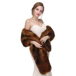Elegante cappotto da sposa inverno da sposa in pelliccia sintetica avvolge scialli bastone caldo Capispalla nero Gary bianco giacca da donna avvolgente prom sera da donna da