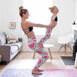 Medias de sandía online-Sandalias de yoga con estampado de sandía Nuevas polainas europeas y americanas Delgado de cintura alta Levantamiento de glúteos Leggings ajustados Otoño 1