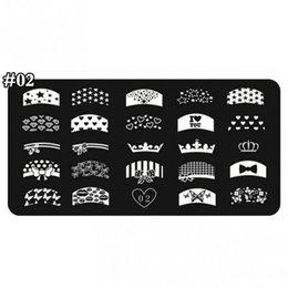 1 x Nail Stamping Piatti 24 disegni Consigli francesi Crown Manicure Stamping Template Immagine Stamp Plate per DIY Nail Decoration 002TX da