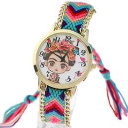 Relógio de pulseira trançada mulher on-line-Gnova Platinum étnico Cadeia Women Watch menina Teddy Urso de Ouro Trançado Pulseira de quartzo relógio de pulso Reloj para dama A855
