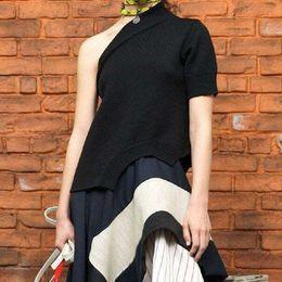 2019 camisa atractiva coreana Sling Off Hombro Sexy T-shirt Mujeres Irregular Negro Mujer T-shirt Verano Moda Casual Ropa Coreana 2019 camisa atractiva coreana baratos