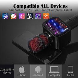 Enregistreur vocal bluetooth sans fil en Ligne-Dernier microphone Bluetooth karaoké, haut-parleur, lecteur, enregistreur, micro sans fil avec changeur de voix 4-IN-1 avec DEL dynamique