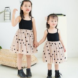 cfac09764de INS Girls Dresses Star Printed Kids Sling Dress Mesh Princess Suspender Dresses  Fashion Kid Girl Clothes Summer Kids Clothing YW2240