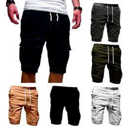 Pantaloncini Da Uomo Vita Elasticizzata Pantaloni semplici da combattimento metà Casual Estate Pantaloni Corti con Tasconi