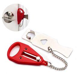 Seguridad para el hogar portátil online-Cerradura de la puerta de seguridad portátil Cerradura de seguridad de acero inoxidable chian guardia Hotel Door Stopper DIY Home Tools AAA1892