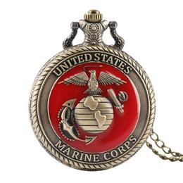 Vintage Quarz USA Marine Corps Taschenuhren für Jungen, Blume Carving Anhänger Uhr Gliederkette für Jugendliche von Fabrikanten